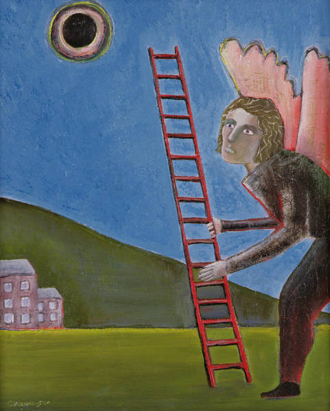 Ladders Photograph - The Rise Of Icarus, 1989 Oil On Canvas by Celia Washington
