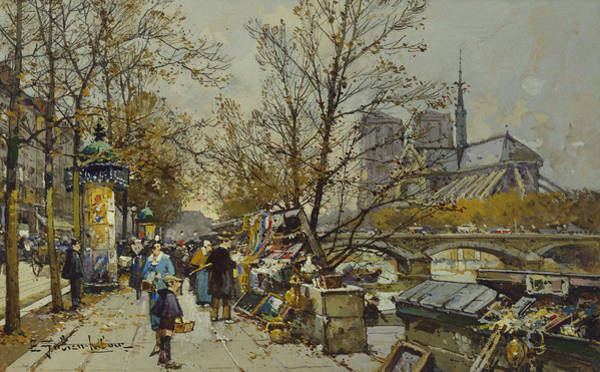 Pavement Wall Art - Painting - The Rive Gauche Paris With Notre Dame Beyond by Eugene Galien-Laloue