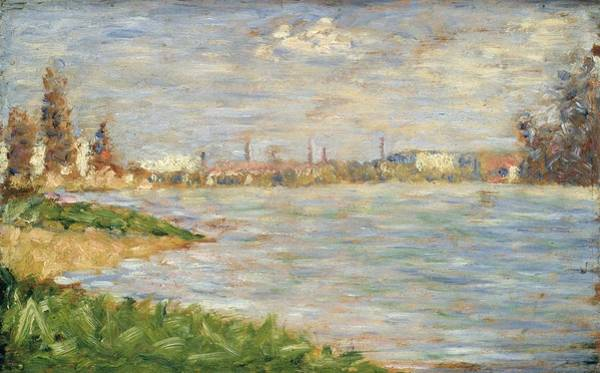 Riverbank Painting - The River Banks, C.1883 by Georges Pierre Seurat