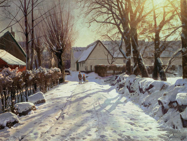 Wintry Painting - The Road Home by Peder Monsted