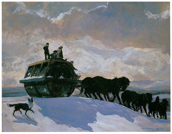 Pulling Painting - The Road Roller by Rockwell Kent
