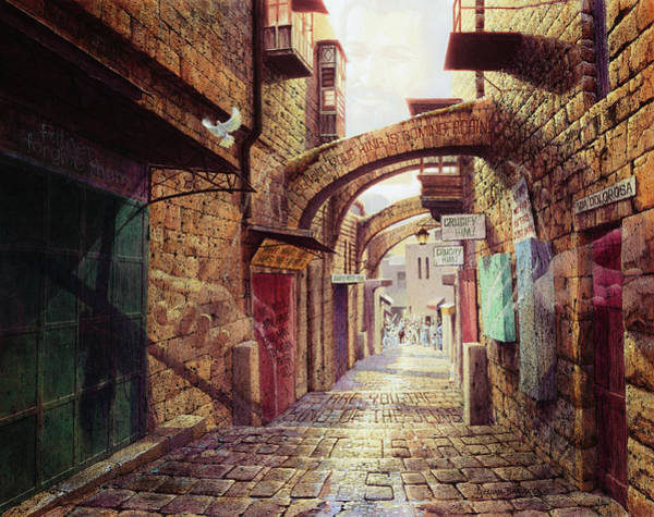 Sunday Painting - The Road To The Cross  Jerusalem by Graham Braddock