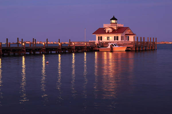 Roanoke Marshes Light Wall Art - Photograph - The Roanoke Marshes Lighthouse In Manteo North Carolina At Dus by Stephen Goodwin