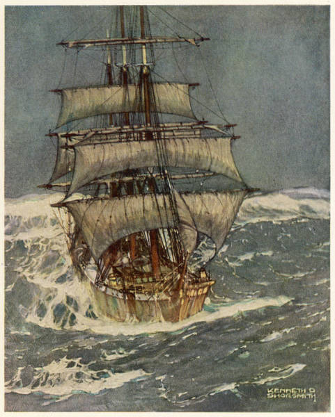 Wall Art - Drawing - The Roaring Forties A Three-master by Mary Evans Picture Library