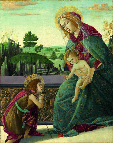 Sandro Botticelli Painting - The Rockefeller Madonna. Madonna And Child With Young Saint John The Baptist by Sandro Botticelli