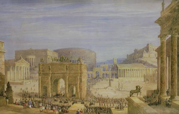 Equestrian Drawing - The Roman Forum by Francis Vyvyan Jago Arundale