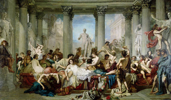 Drunk Photograph - The Romans Of The Decadence, 1847 Oil On Canvas by Thomas Couture