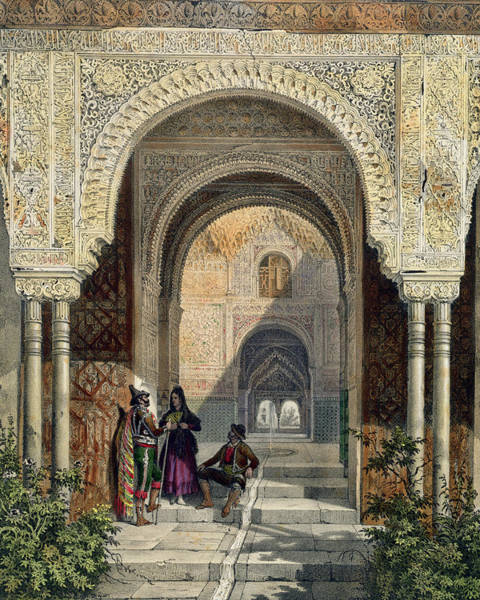Granada Wall Art - Drawing - The Room Of The Two Sisters by Leon Auguste Asselineau