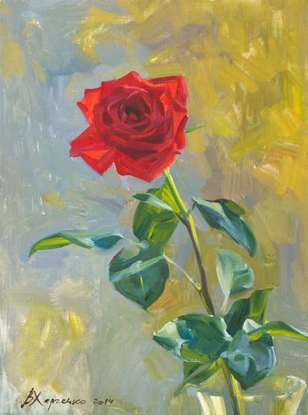 Red Rose Painting - The Rose At An Autumn Window by Victoria Kharchenko