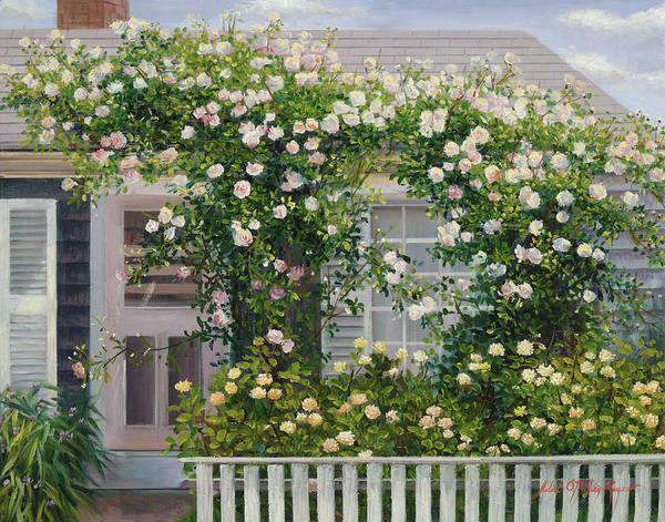 Mooring Painting - The Rose Covered Cottage 2 by Julia O'Malley-Keyes