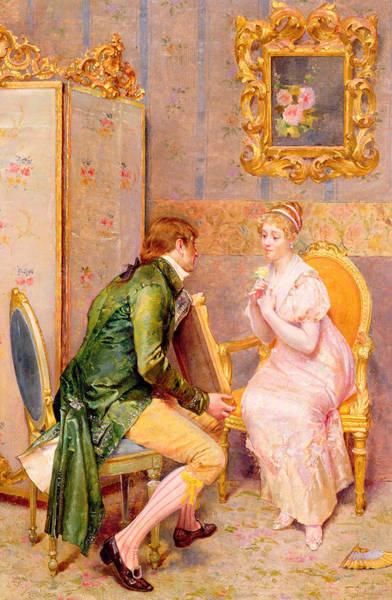 Giulio Painting - The Rose by Giulio Rosati