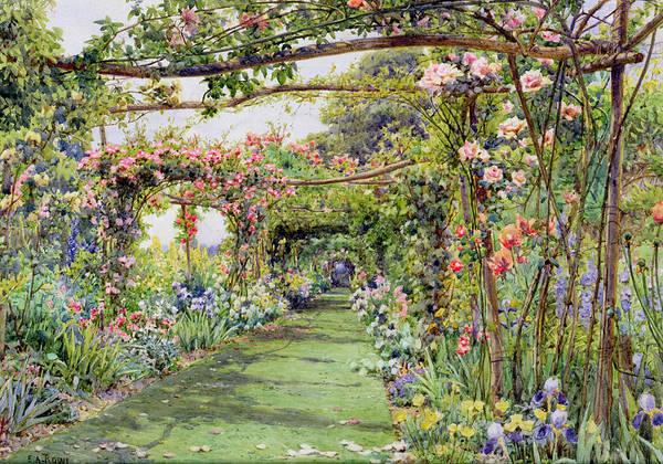 Garden Drawing - The Rose Pergola, Blackhurst House by Ernest Arthur Rowe