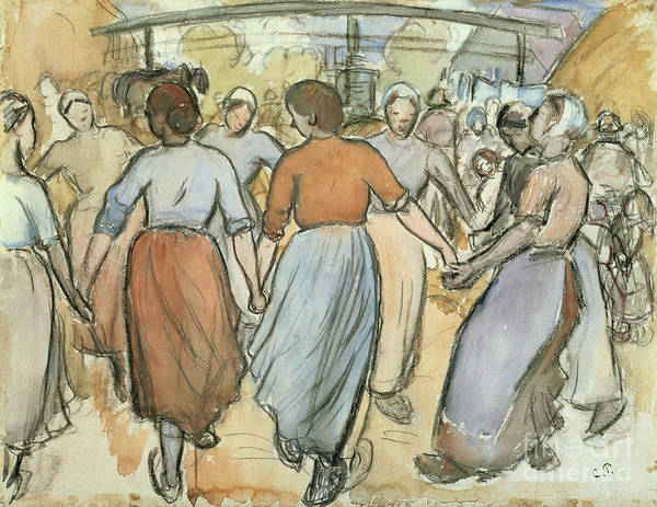 Wall Art - Painting - The Round by Camille Pissarro