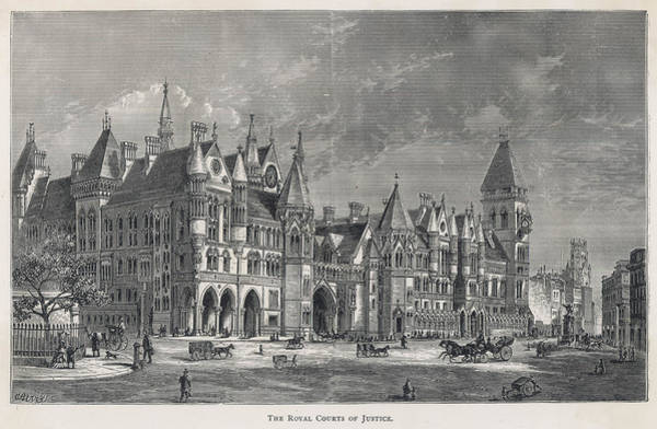 Royal Court Drawing - The Royal Courts Of Justice by Mary Evans Picture Library