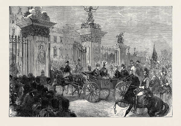 Entry Drawing - The Royal Entry Into London The Procession At Buckingham by English School