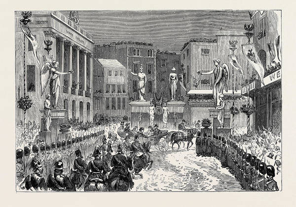 Entry Drawing - The Royal Entry Into London The Procession At The Foot by English School