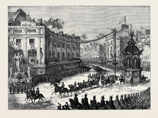 Entry Drawing - The Royal Entry Into London The Procession In Oxford Circus by English School