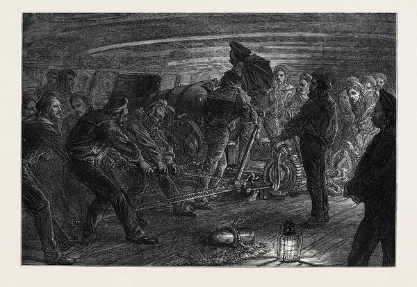 Royal Artillery Wall Art - Drawing - The Royal Naval Artillery Volunteers At Exercise 1873 by English School