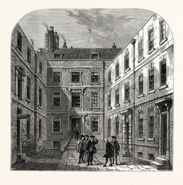 Royal Court Drawing - The Royal Societys House In Crane Court London by English School