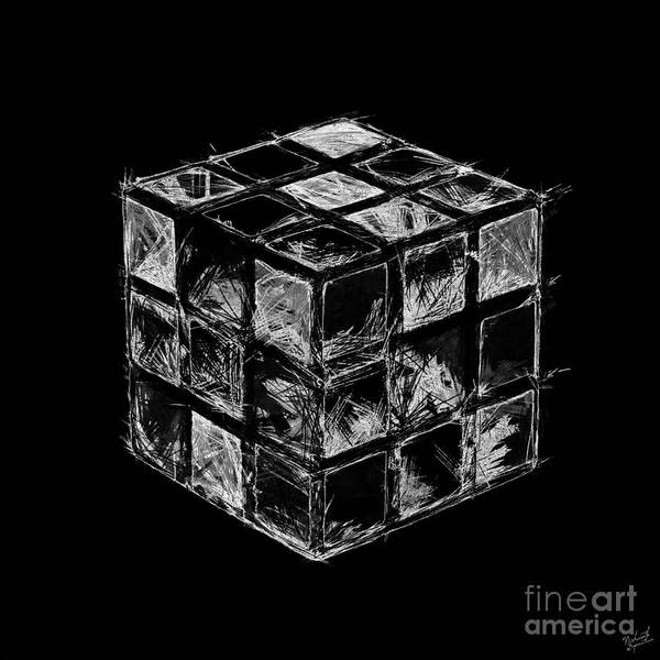 Negative Space Digital Art - The Rubik's Cube by Nishanth Gopinathan