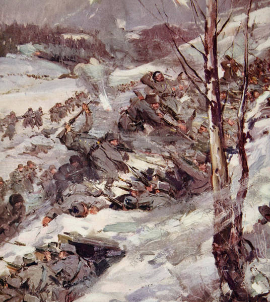 First Snowfall Wall Art - Painting - The Russians Fighting Their Way Over The Carpathians by Cyrus Cuneo