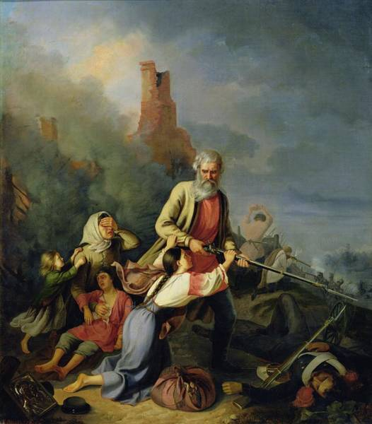 Anguish Photograph - The Russians In 1812, 1855 Oil On Canvas by Konstantin Przhceslavski