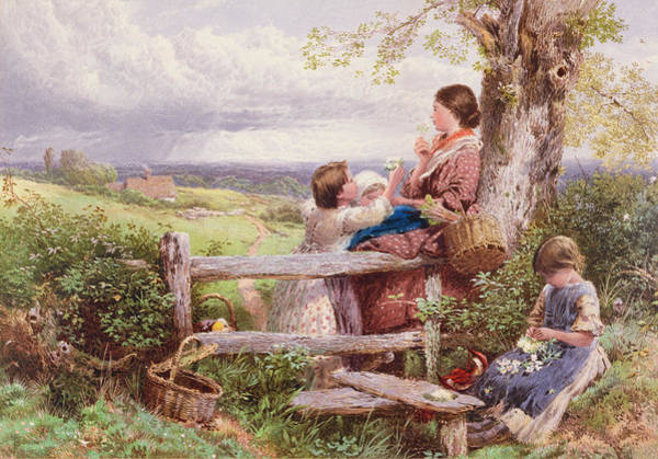 Stump Painting - The Rustic Stile by Myles Birket Foster