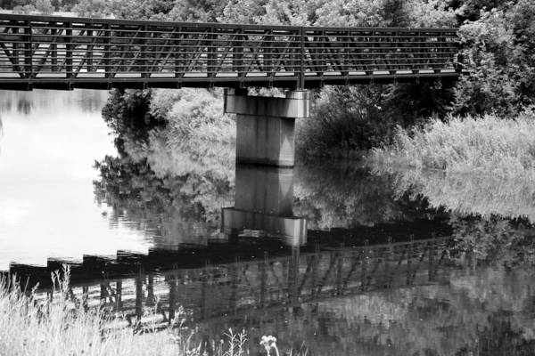 White Cloud Mixed Media - The Rusty Foot Bridge Bw by Angelina Tamez