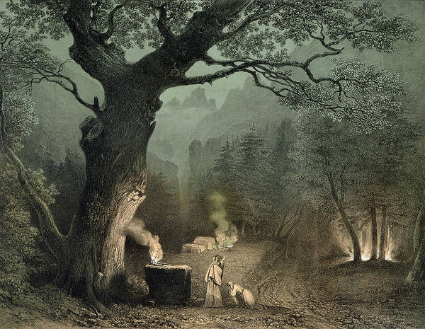 Druid Wall Art - Photograph - The Sacred Grove Of The Druids, From The Opera Norma By Vincenzo Bellini 1802-35 Engraving by French School