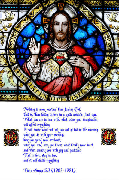 Society Digital Art - The Sacred Heart And The Arrupe Prayer by Philip Ralley