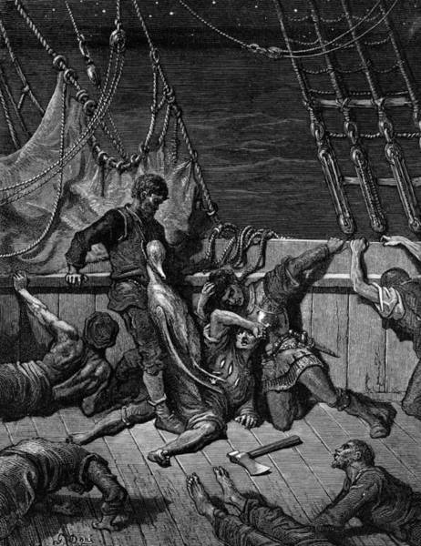 Poetry Drawing - The Sailors Curse The Mariner Forced To Wear The Dead Albatross Around His Neck by Gustave Dore
