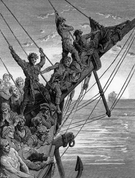 Poetry Drawing - The Sailors See In The Distance A Ghostly Ship by Gustave Dore