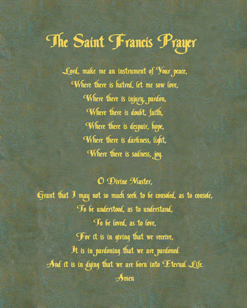 Wall Art - Digital Art - The Saint Francis Prayer In Gold Lettering On Green Leather. by Philip Ralley