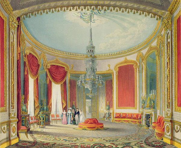 Chandelier Painting - The Saloon In Its Final Phase by John Nash