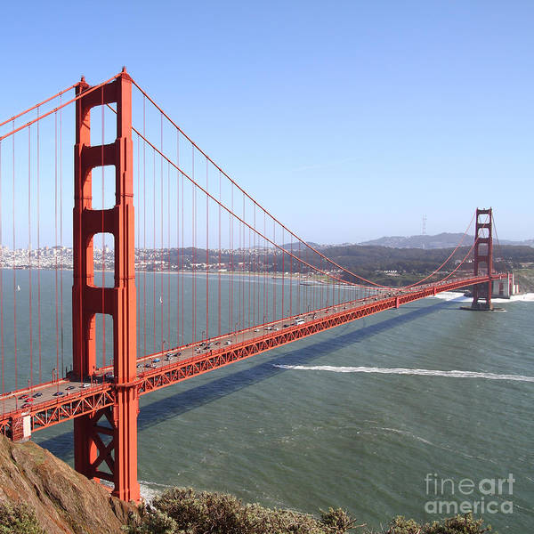 Photograph - The San Francisco Golden Gate Bridge 7d14507 Square by Wingsdomain Art and Photography