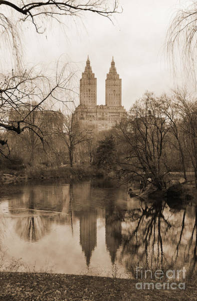 Photograph - The San Remo Building Reflectec On The Lake In Central Park Vintage Look by RicardMN Photography