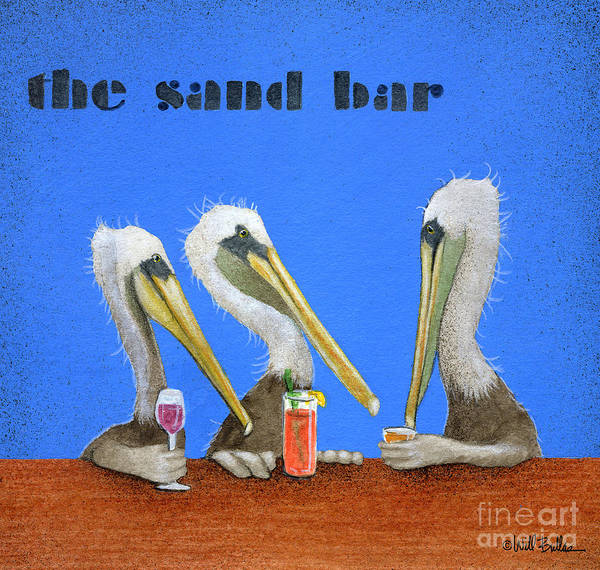 Pelican Painting - The Sand Bar... by Will Bullas
