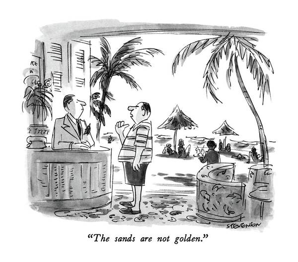 Tourism Drawing - The Sands Are Not Golden by James Stevenson