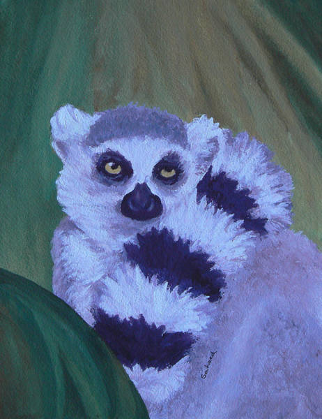 Ring-tailed Lemur Painting - The Scarf by Margaret Saheed