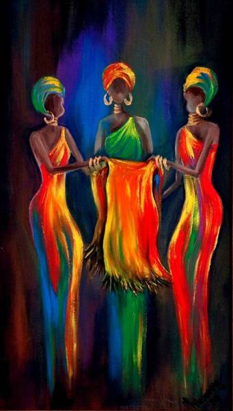 African Women Painting - The Scarf by Marietjie Henning