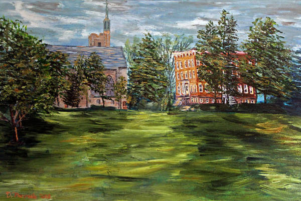 College Campus Painting - The Scarlet And The Brown On A Cloudy Day In July by Denny Morreale