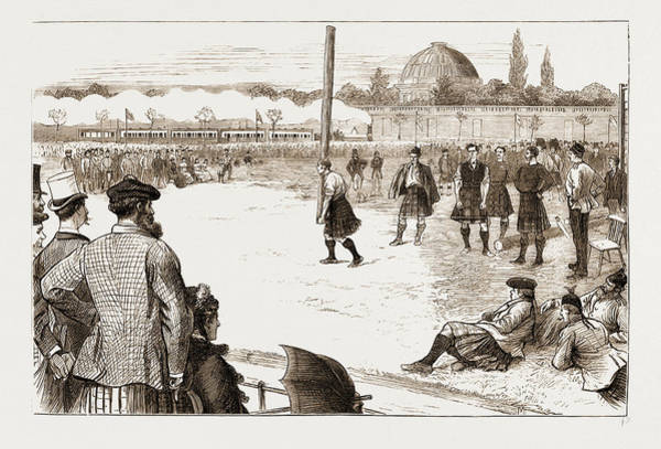 Stamford Bridge Wall Art - Drawing - The Scottish Gathering At Stamford Bridge Tossing The Caber by Litz Collection