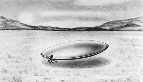 Clarion Wall Art - Drawing - The 'scow' - An Alien  Spacecraft by Mary Evans Picture Library