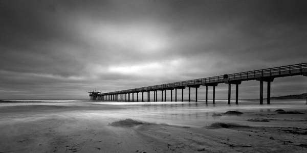 Photograph - The Scripps Pier - Black And White by Peter Tellone