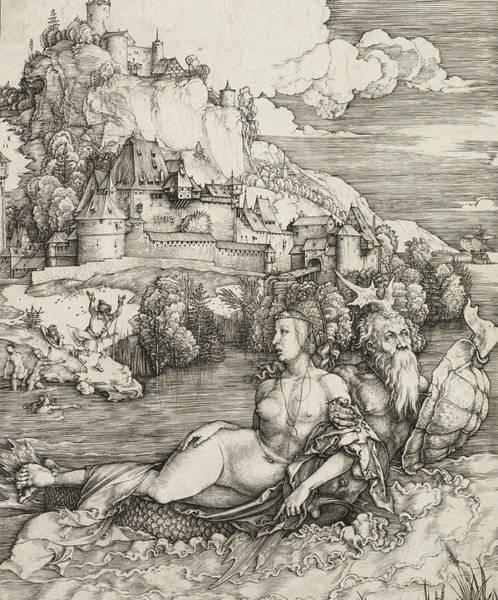 German Renaissance Drawing - The Sea Monster by Albrecht Durer or Duerer