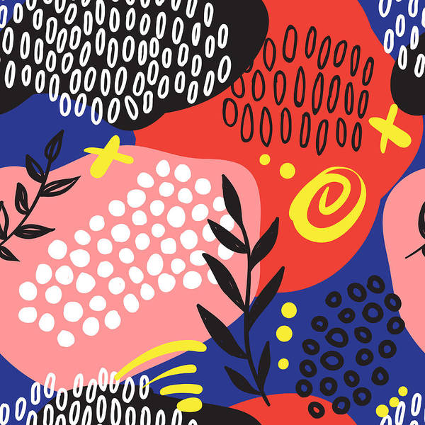 Printmaking Wall Art - Digital Art - The Seamless Colorful Pattern With by Ekaterina Bedoeva