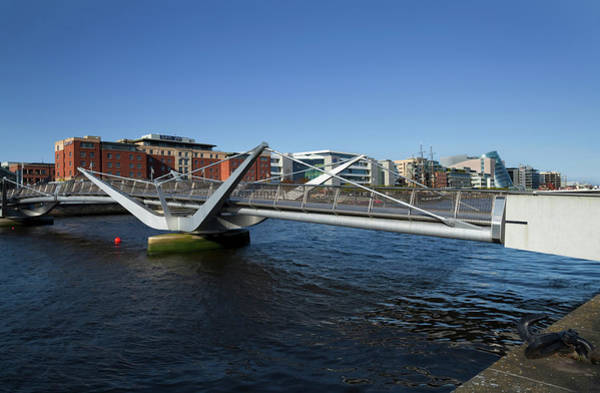 Financial Centre Photograph - The Sean Ocasey Bridge Across The River by Panoramic Images