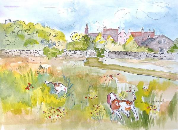 Field Spaniel Painting - The Search In Berwick Upon Tweed by Nancy Brennand