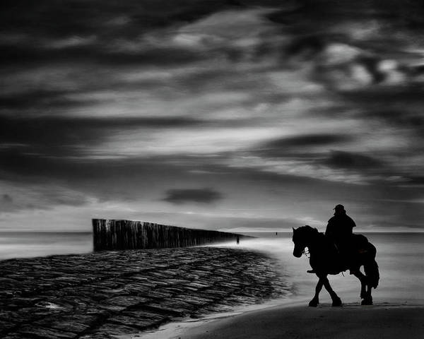 Rider Photograph - The Sea's Voice Speaks To The Soul ... by Yvette Depaepe