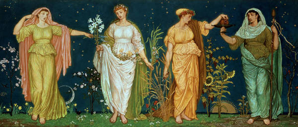 Moon Flower Photograph - The Seasons by Walter Crane